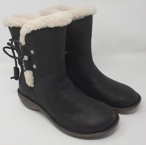 UGG | Sheepskin Lined Leather Black Boots